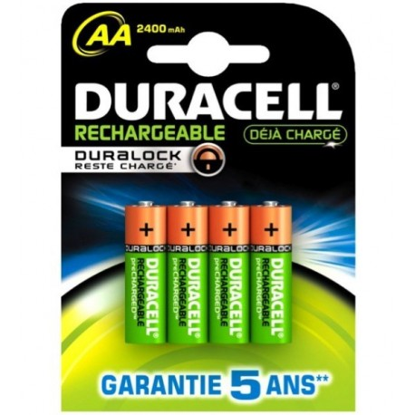 Piles DURACELL HR06 AA - Blister x 4 - NiMh - 1.2V - 2400mAh